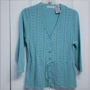 White Stag Cardigan Sweater Size M Blue